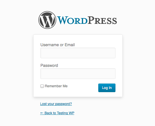 Interfata login WordPress