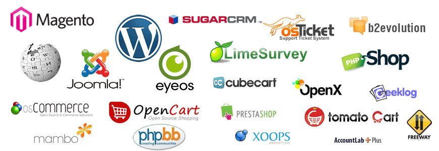 magento, wordpress, opencart, softacuous